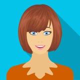 Il fronte di una donna con una pettinatura Il fronte ed icona dell'aspetto la singola nello stile piano vector il web di riserva  illustrazione di stock