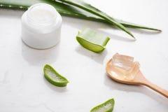 Il fronte e l'ente crema cosmetici della pelle di vera dell'aloe si preoccupano il moistur di igiene Fotografia Stock Libera da Diritti
