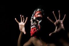 Il fronte spaventoso dello zombie, ha spazio per testo, concetto di Halloween immagini stock