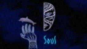 Il fronte, il tatuaggio della mano ed il delfino mezzi d'ardore su un'illustrazione del fondo 3D dello spazio rendono Immagini Stock Libere da Diritti