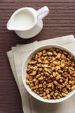 Il frumento si sfalda con latte, prima colazione Immagine Stock