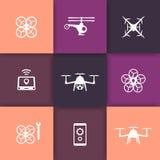 Il fuco, elicottero, icone rotonde del quadrocopter ha messo, segni con i fuchi illustrazione di stock