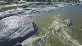 Il fuco rimuove dalla ragazza che si siede sulla pietra sotto il Sun scottante stock footage