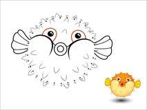 Il fumetto del pesce della soffiatore collega i punti e colora illustrazione di stock