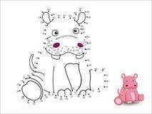 Il fumetto dell'ippopotamo collega i punti e colora illustrazione vettoriale