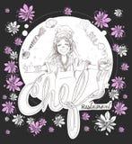 Il fumetto della ragazza del cuoco unico con progettazione del colpo della matita di logo dei fiori ha cli Fotografia Stock Libera da Diritti