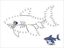 Il fumetto dello squalo collega i punti e colora illustrazione vettoriale