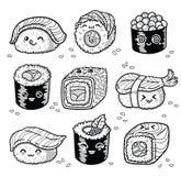 Il fumetto di manga dei rotoli e dei sushi di Kawaii ha messo nel profilo Fotografie Stock