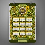 Il fumetto di scarabocchi arriccia il calendario floreale ornamentale Fotografie Stock Libere da Diritti