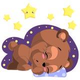 Il fumetto di sonno sopporta il vettore di clipart con la luna e le stelle Immagine Stock