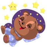 Il fumetto di sonno sopporta il vettore di clipart con la luna e le stelle Immagini Stock