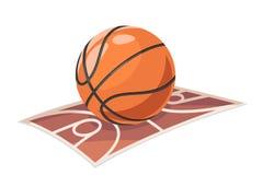 Il fumetto di sport di campo della palla di pallacanestro ha isolato l'illustrazione di vettore dell'icona Fotografia Stock Libera da Diritti