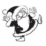 Il fumetto divertente Santa Claus sta ballando Illustrazione disegnata a mano di vettore di stile di schizzo isolata su fondo bia illustrazione di stock