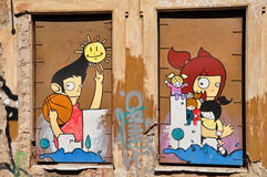 Il fumetto felice calcola i graffiti Fotografia Stock Libera da Diritti