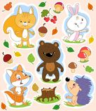 Il fumetto ha isolato il clipart con gli animali svegli della foresta ed il tema di autunno Immagine Stock