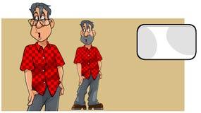 Il fumetto ha sorpreso l'uomo in camicia ed in carta in bianco Immagine Stock Libera da Diritti