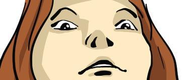Il fumetto ha spaventato o sorpreso il fronte del ` s della ragazza, vista dal basso, primo piano Immagine Stock