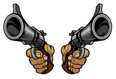 Il fumetto passa le pistole della holding Fotografia Stock Libera da Diritti