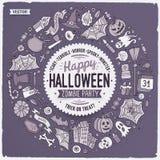 Il fumetto rotondo di Halloween della struttura obietta, simboli e oggetti Fotografie Stock