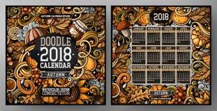 Il fumetto scarabocchia l'autunno modello del calendario da 2018 anni Inglese, inizio di domenica royalty illustrazione gratis