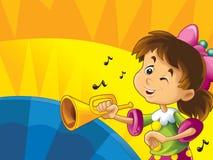 Il fumetto scherza con gli strumenti - segni musicali e felicità su fondo dinamico colorato Immagini Stock Libere da Diritti