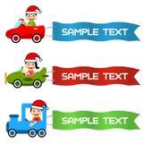 Il fumetto scherza condurre il veicolo del giocattolo con la bandierina del messaggio Immagine Stock