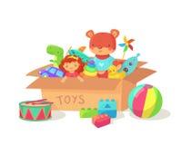 Il fumetto scherza i giocattoli in contenitore di giocattolo del cartone Contenitori di regalo della festa dei bambini con i gioc illustrazione vettoriale
