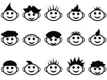 Il fumetto scherza il fronte con le icone di stile di capelli Immagine Stock