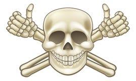 Il fumetto sfoglia sul cranio e sulle tibie incrociate del pirata illustrazione vettoriale