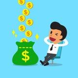 Il fumetto si rilassa i soldi dei guadagni dell'uomo d'affari Fotografie Stock