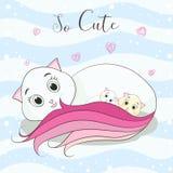 Il fumetto sveglio del gatto abbraccia i suoi childs illustrazione di stock
