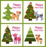 Il fumetto sveglio insegue il buon anno di desideri vicino all'albero Fotografia Stock