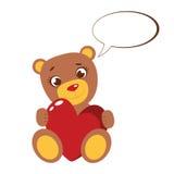 Il fumetto sveglio Teddy Bear con cuore rosso ed il dialogo si appannano Illustrazione di vettore isolata su bianco Fotografie Stock