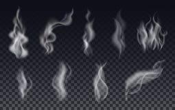 Il fumo realistico della sigaretta ondeggia o vapore su fondo trasparente illustrazione vettoriale