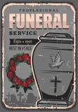 Il funerale, urna di sepoltura di polvere, è aumentato corona illustrazione vettoriale