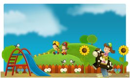 Il funfair - campo da giuoco per i bambini illustrazione vettoriale