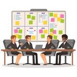 Il funzionamento del gruppo di affari e fa una certa pianificazione sul bordo di mischia royalty illustrazione gratis