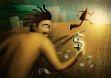 Il funzionamento dell'uomo con i dollari Immagini Stock