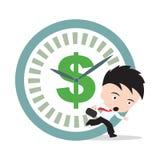 Il funzionamento dell'uomo d'affari, si affretta per il lavoro con il simbolo di dollaro e cronometra l'ora di punta, su fondo bi Immagini Stock Libere da Diritti
