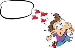 Il funzionamento dell'uomo pensa ad amore Immagini Stock
