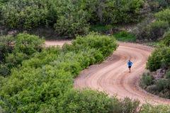 Il funzionamento dell'uomo sui lucci della strada della montagna della sporcizia alza la catena montuosa verticalmente Colorado S immagine stock libera da diritti
