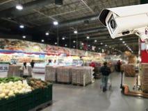 Il funzionamento della videocamera di sicurezza del CCTV Fotografia Stock