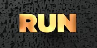 Il funzionamento - testo dell'oro su fondo nero - 3D ha reso l'immagine di riserva libera della sovranità Immagine Stock