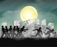 Il funzionamento umano dallo zombie alla notte ha rovinato la città royalty illustrazione gratis