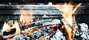 Il fuoco bruciato registra i carboni Immagine Stock