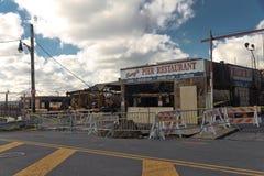 Il fuoco cattura il commercio durante l'uragano Sandy Immagini Stock