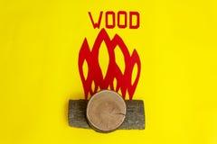 Il fuoco creato dai pezzi di legno Fotografia Stock