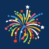 Il fuoco d'artificio modella l'icona festiva variopinta di vettore Immagine Stock