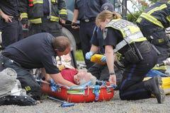 Il fuoco ed il salvataggio di Abbotsford aiutano un driver Immagini Stock Libere da Diritti