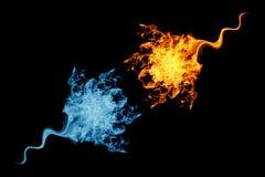 Il fuoco fiammeggia la raccolta, simbolo di yin yang immagine stock libera da diritti